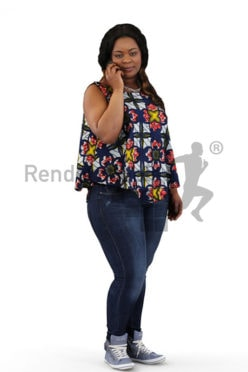 3d people casual, black 3d woman standing and talking on the phone