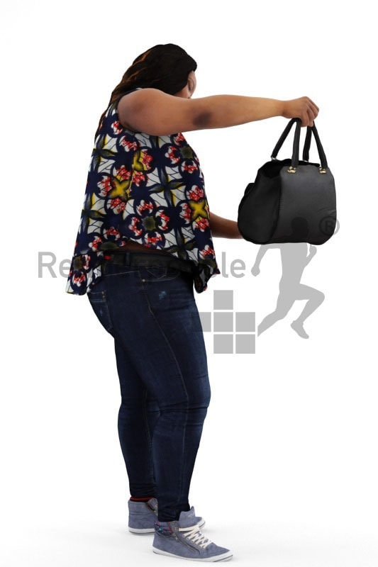 3d people shopping, black 3d woman checking out a bag