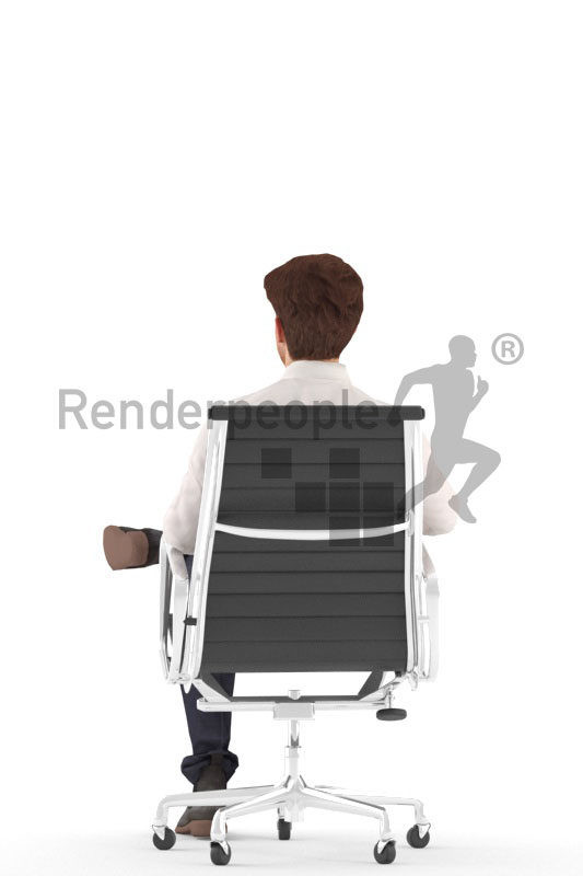 Animated 3D People model for visualization – white man in business clothes, sitting in an office chair