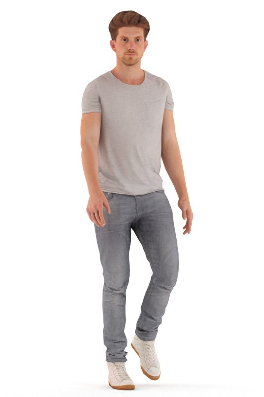 Animated 3D People model for realtime, VR and AR – european man in daily outfit, walking