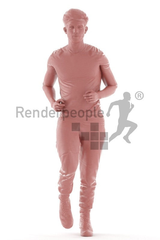 Human 3D model for animations – european man in sports dress, jogging