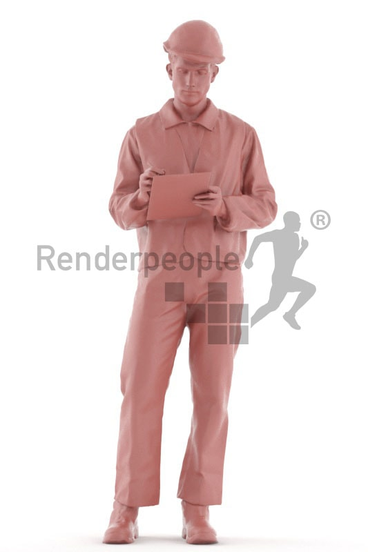 3d people service, 3d worker standing and holding clipboard