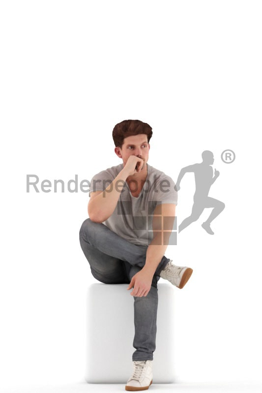 3d people casual, jung man sittting