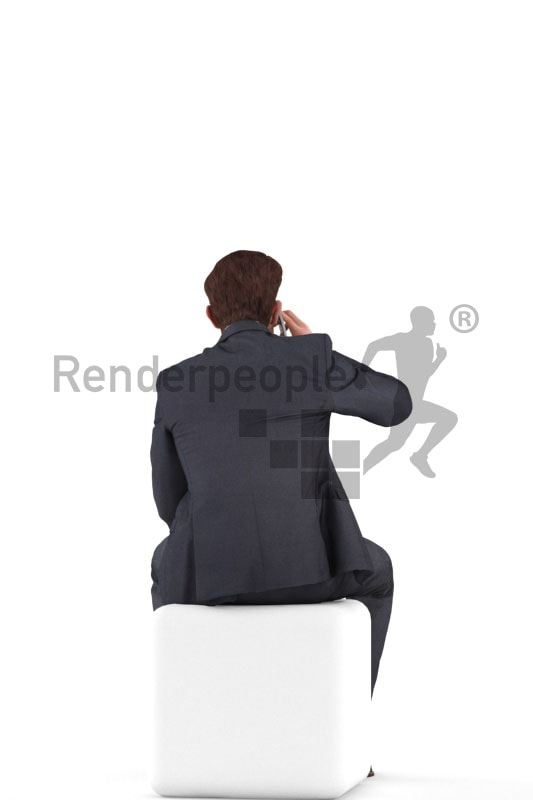 3d people business, jung man sittting and calling