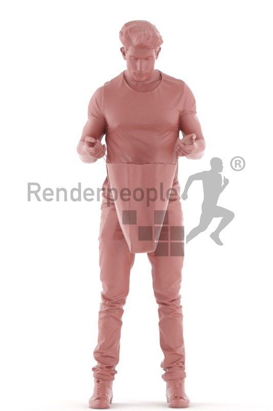 3d people casual, jung man looking into a ba