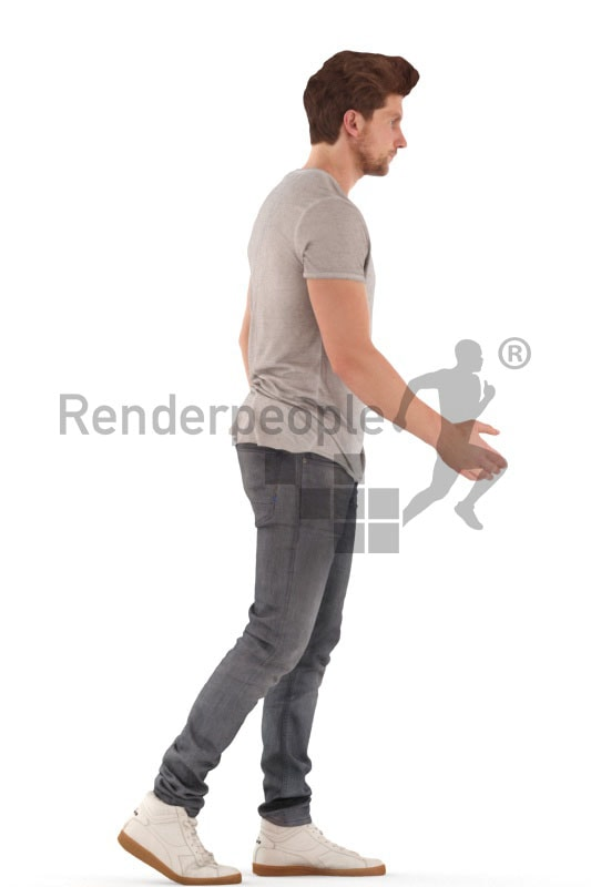 3d people casual, young man walking