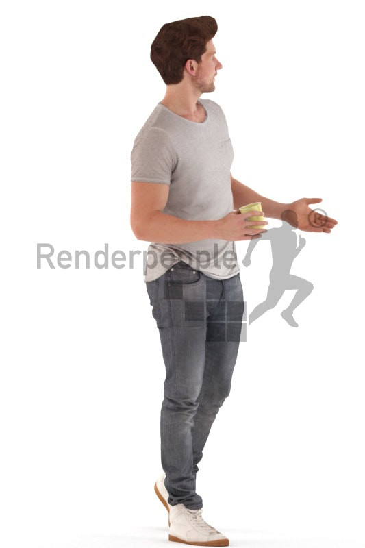 3d people casual, young man walkingdebating with a cup in his hand