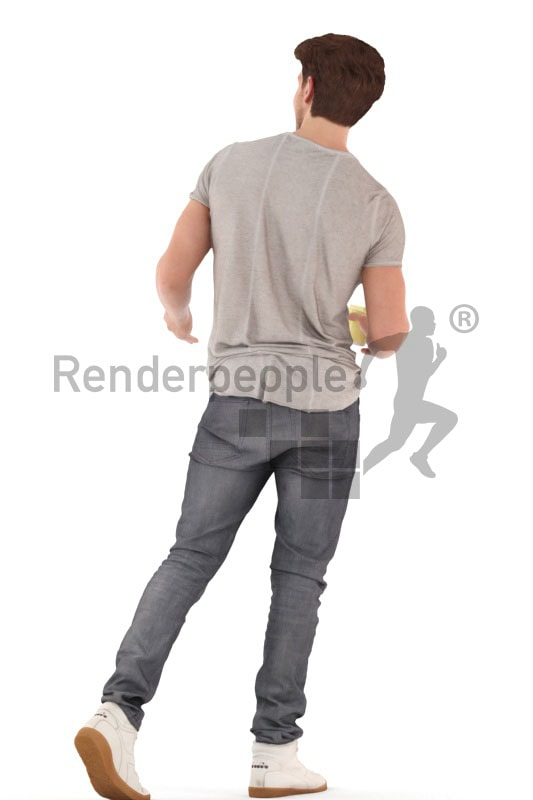 3d people casual, young man walking debating with a cup in his hand