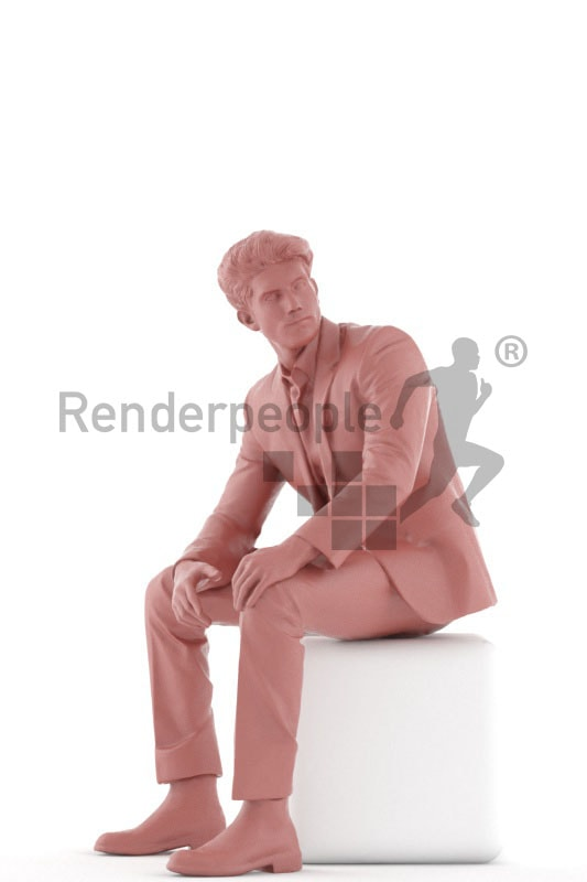 3d people business, young man sitting