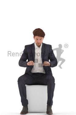 3d people business, young man sitting typing