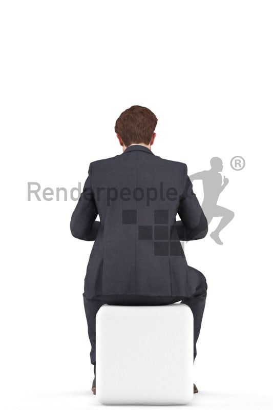3d people business, jung man sittting, typing