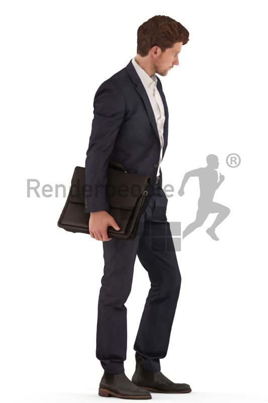 3d people business, young man standing