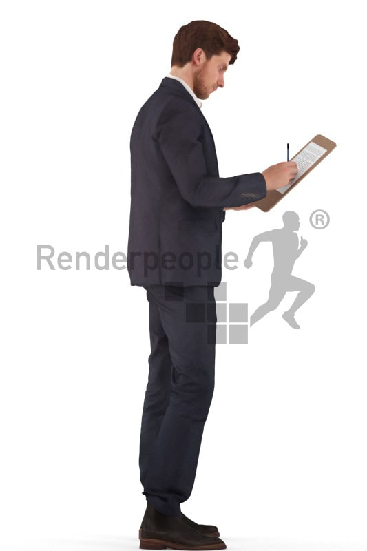 3d people business, young man standing and taking notes