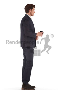 3d people business, man standing, holding a cup