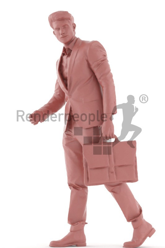 3d people business, man walking with a briefcase in his hand