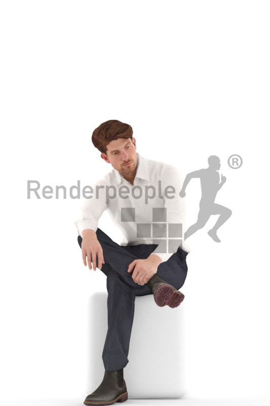 3d people business, young 3d man sitting and thinking