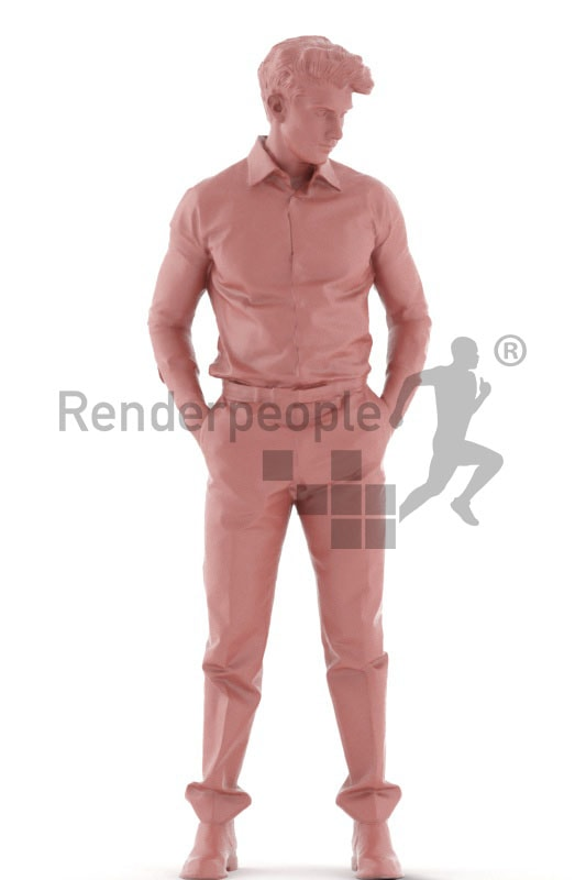 3d people business, young 3d man standing and thinking