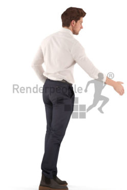 3d people business, young 3d man standing and shaking hands