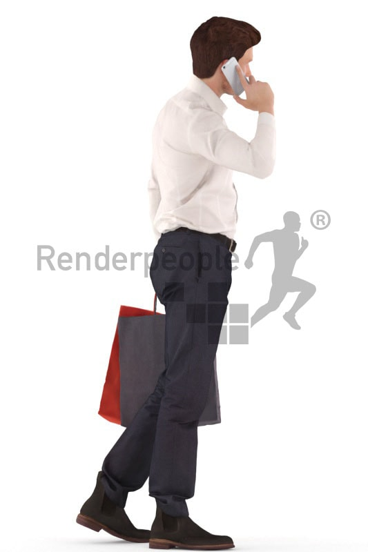 3d people business, man walking and calling with bags in his hands