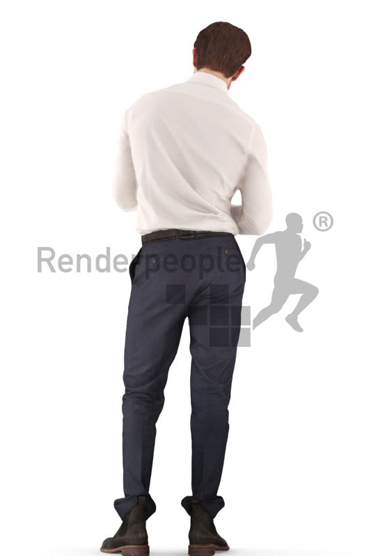 3d people business, man standing with a clipboard in his hands