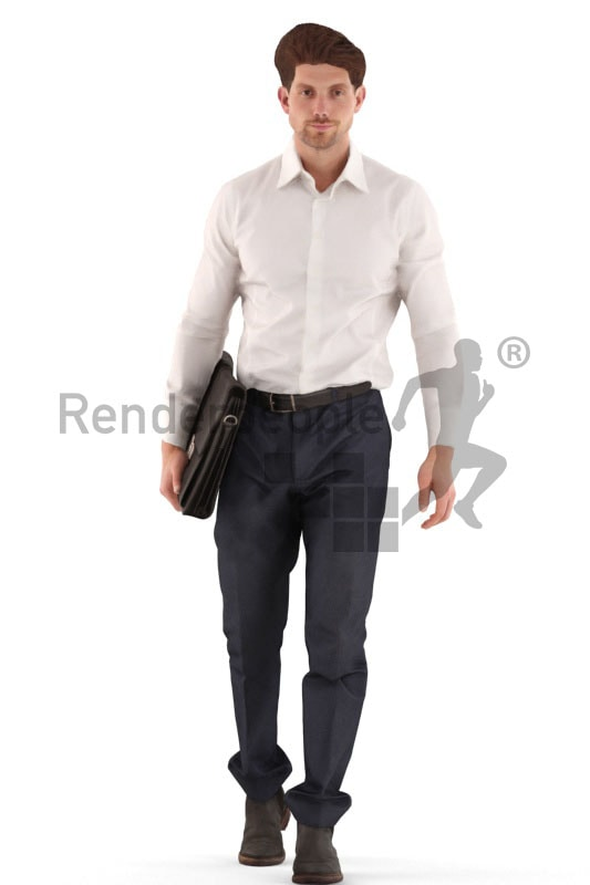 3d people business, man walking