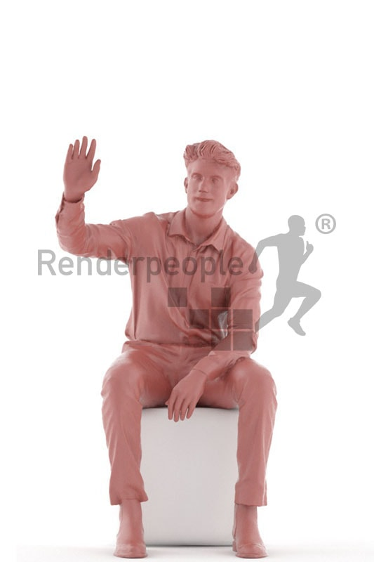 3d people casual, man sitting and waving