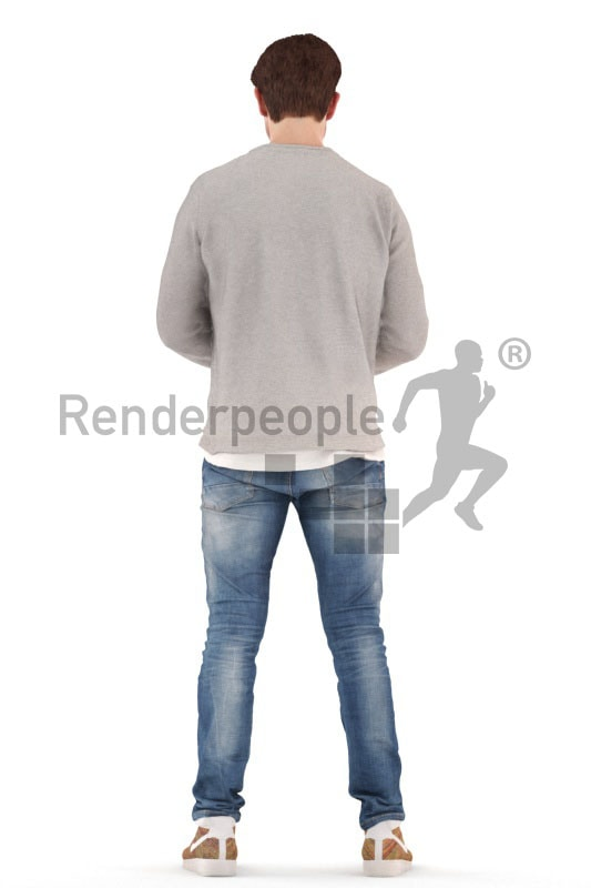 3d people casual, young 3d man standing and typing
