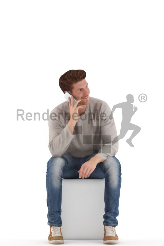 3d people casual, young 3d man sitting and calling