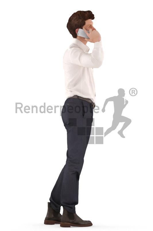 3d people business, man standing and calling