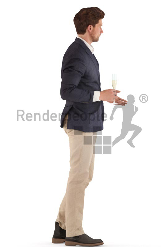 3d people event, man standing and drinking