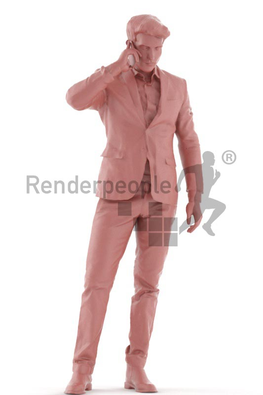 3d people event, man standing and callling