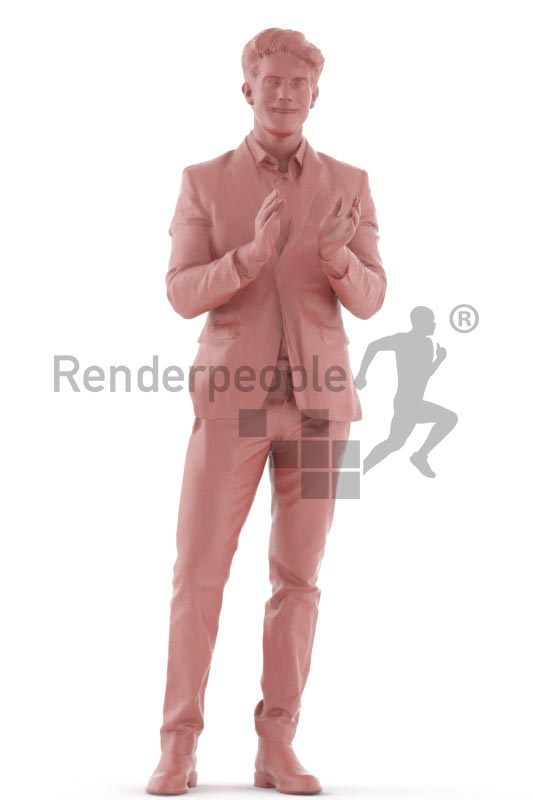3d people event, man standing and clapping