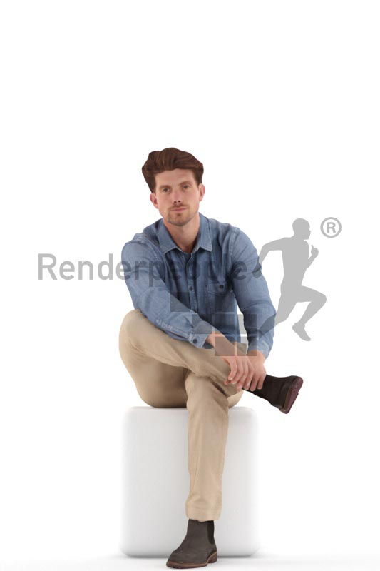 3d people casual, man sitting