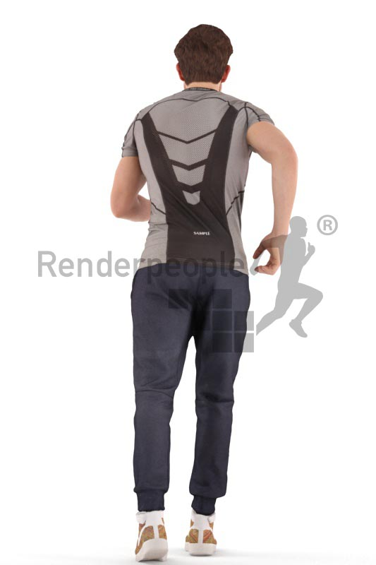 3d people sport, man jogging