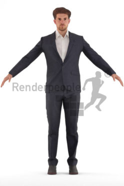 3d people business, rigged young man in A Pose