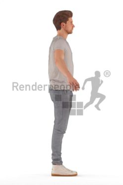 3d people casual, rigged young man in A Pose