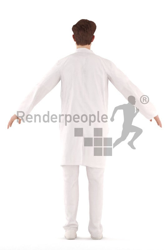 3d people healthcare, rigged man in A Pose