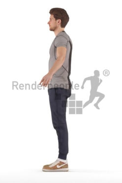 3d people sports, rigged young man in A Pose