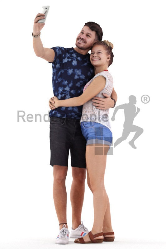 Posed 3D People model for renderings – european couple in casual summer look, taking a selfie