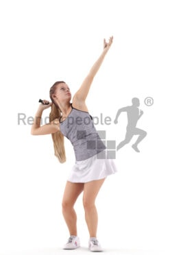 Scanned 3D People model for visualization – european woman in tennis dress, playing