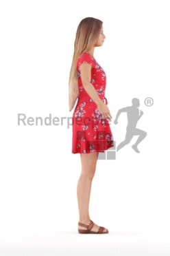 Rigged human 3D model by Renderpeople – european female in casual summer dress