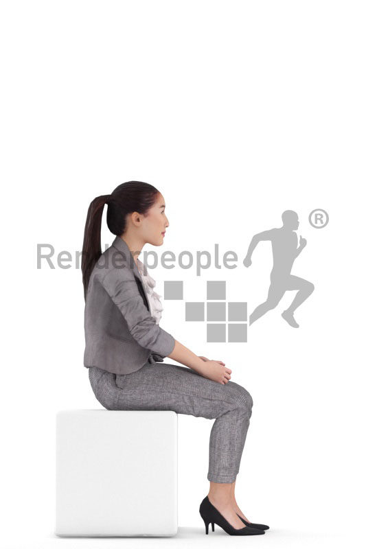 3D People model for animations – asian woman in office look, sitting