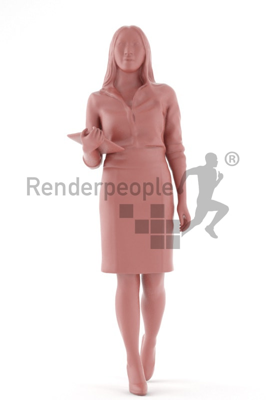 3d people business, asian 3d woman walking and carrying a tablet