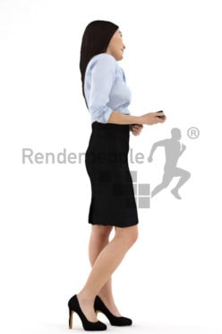 3d people business, asian 3d woman with a tablet