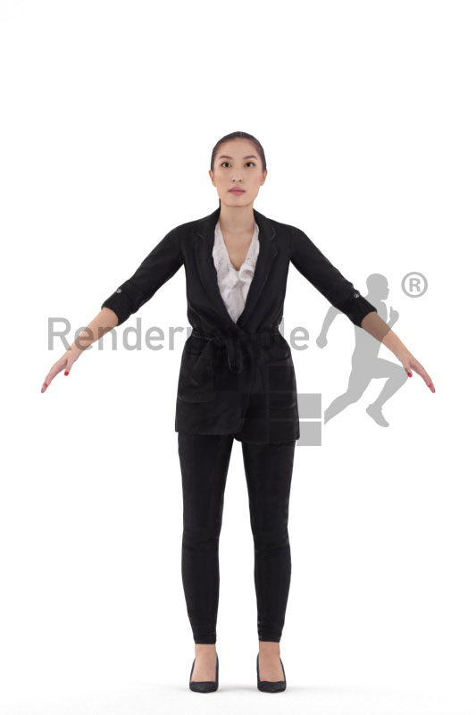 Rigged and retopologized 3D People model – asian woman, business