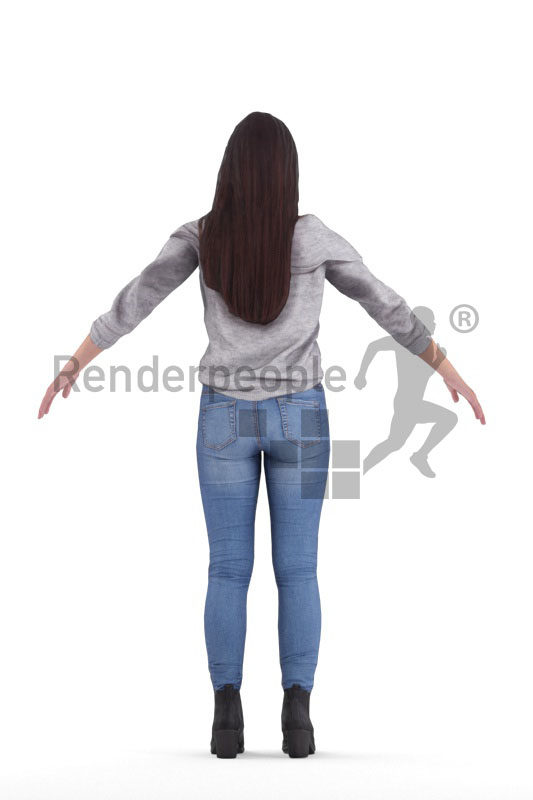 Rigged 3D People model for Maya and 3ds Max – asian woman with daily clothes