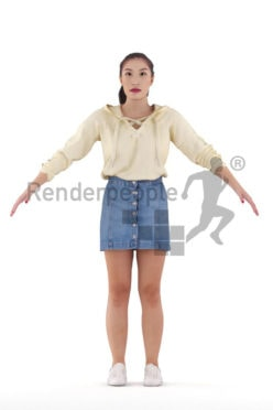 Rigged human 3D model by Renderpeople – asian woman in casual streetwear