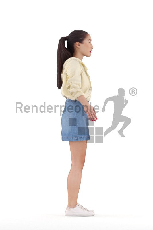 Rigged human 3D model by Renderpeople – asian woman in casual streetwear