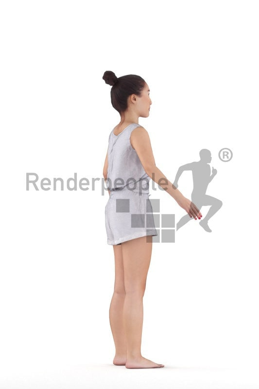 Rigged 3D People model for Maya and 3ds Max –Asian woman, free time, home wear