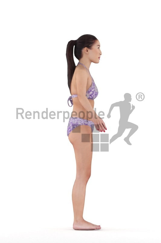Rigged and retopologized 3D People model – asian woman in bikini